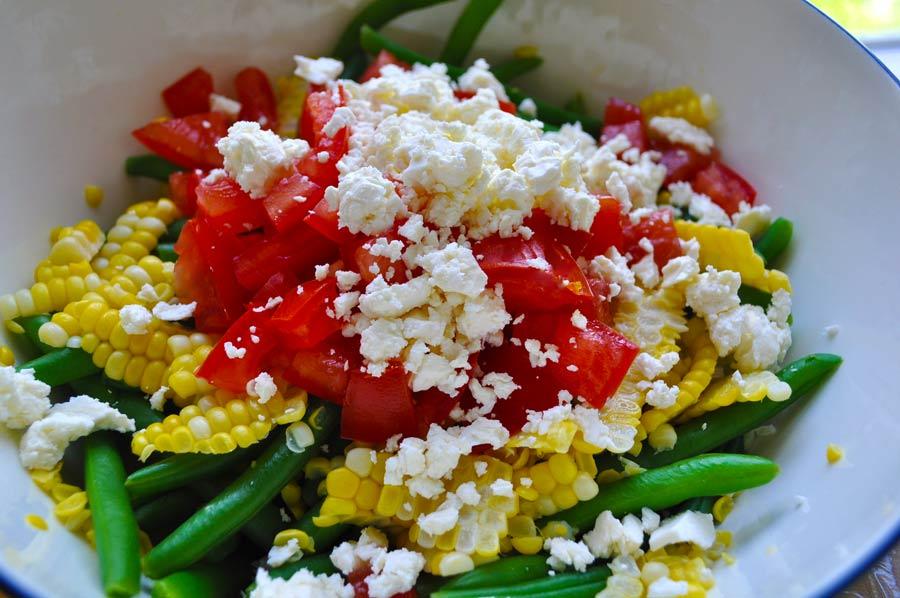 Green Bean, Corn and Feta Salad