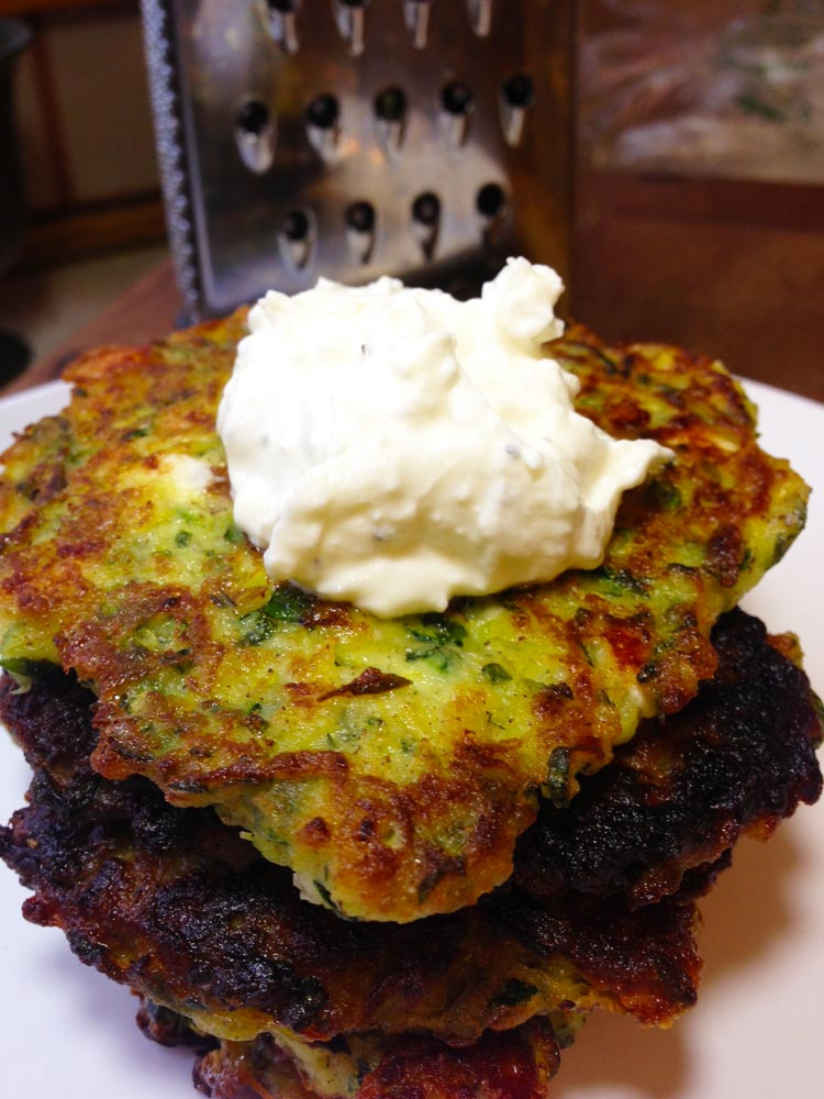 Zucchini Patties with Feta Tzatziki