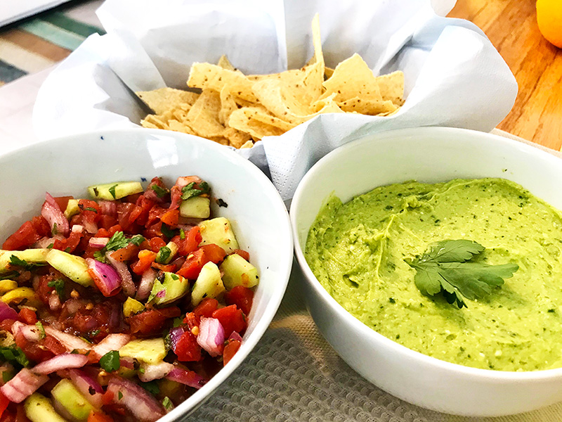 Greek Inspired Salsa & Guacamole